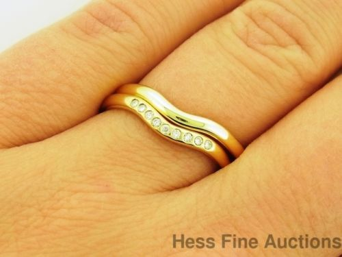 Las 18k Gold Tiffany And Co Elsa Peretti Wedding Band Ring Set