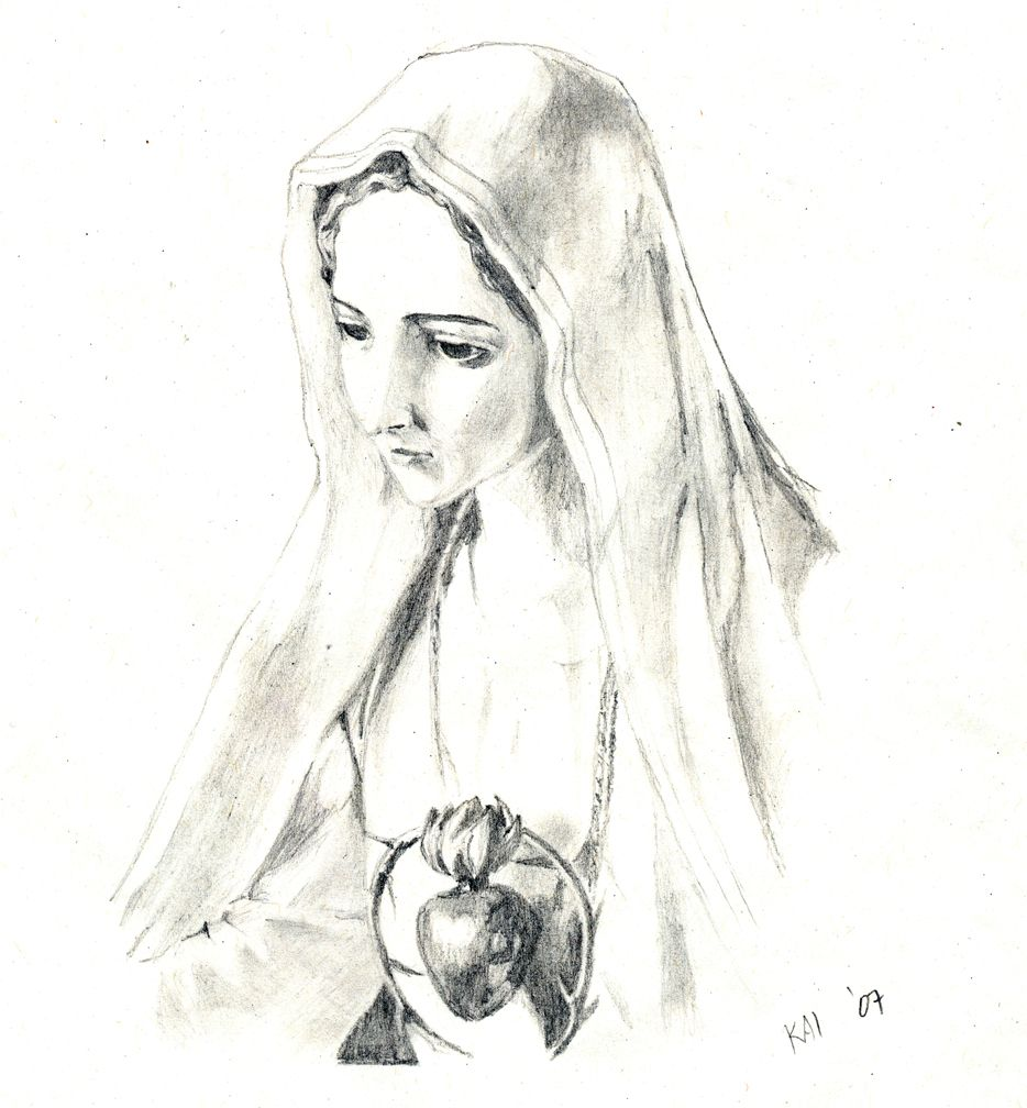 Virgin mary pencil drawings virgin mary drawings in pencil mother mary by kai3rebel