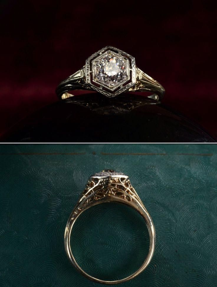 Art Deco Filigree Engagement Ring Antique Jewelry
