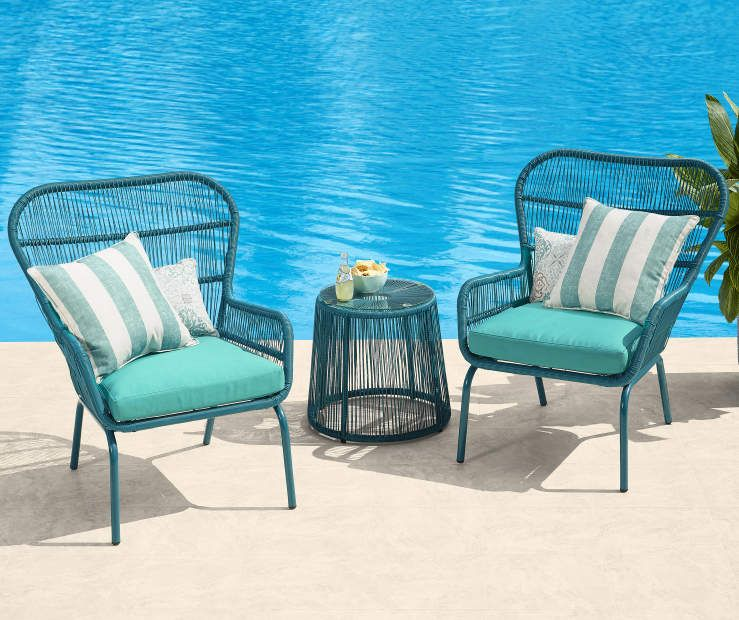 Turquoise All Weather Wicker 3-Piece Chat Set | Big Lots ...
