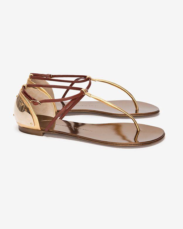 75e5adff231e Giuseppe Zannoti Metallic Mirrored Plate Heel Flat Thong Sandal