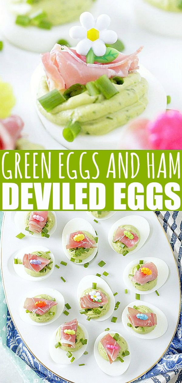 Green Eggs and Ham Deviled Eggs - without food coloring - Foodtastic Mom