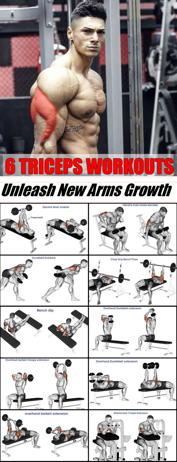 6 Best Triceps Workouts - Unleash New Arms Growth #armexercises