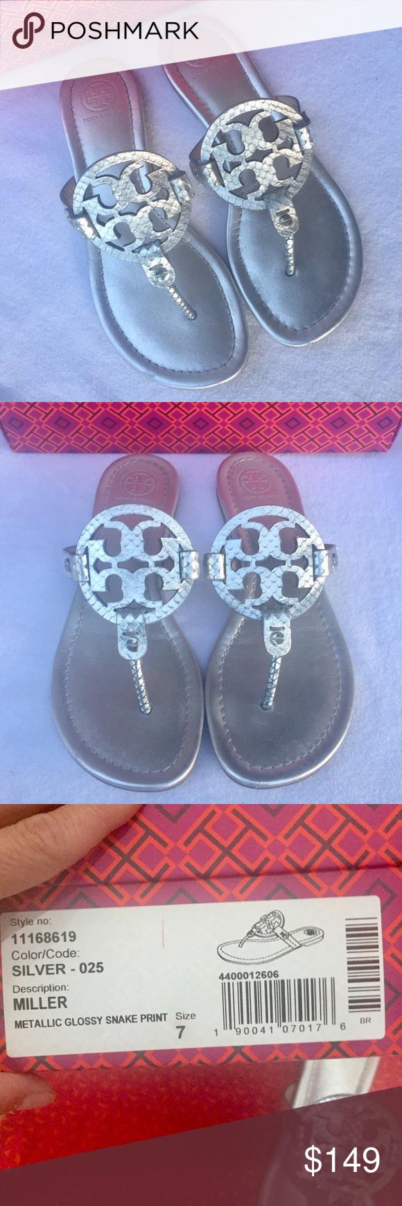 478cd1c684a6f1 Tory Burch Miller Sandals Tory Burch Miller Sandals. Color  Silver Metallic  Snake Print.