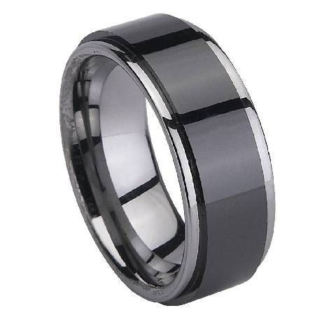 Black Ceramic Coated Mens Tungsten Ring With Polished Edges 8mm