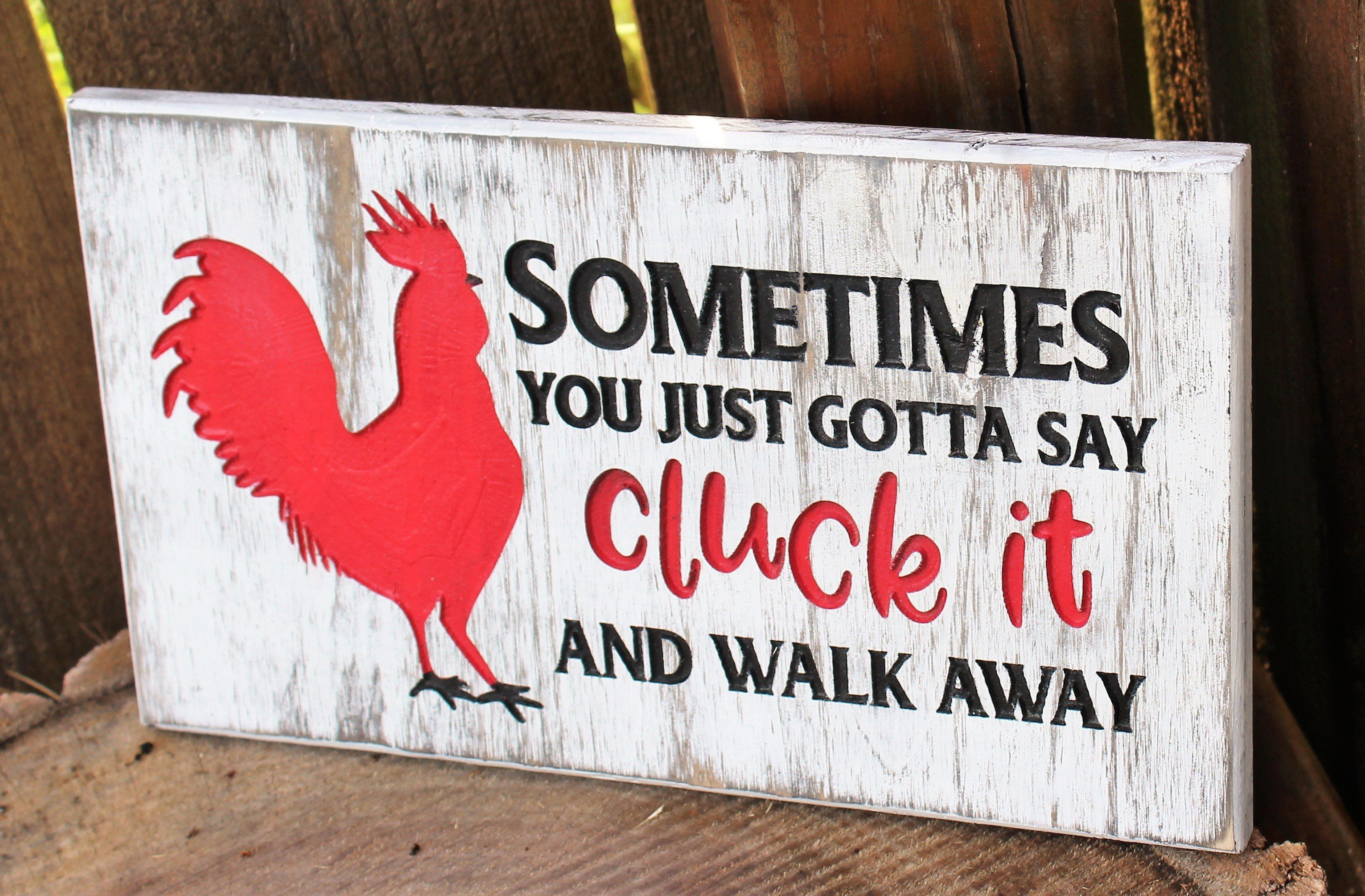 chicken country farmhouse Rustic Wood Sign funny CLUCK IT home decor kitchen