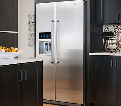 Keep Your Food And Frozen Groceries Fresh In This KitchenAid Side By Side  Refrigerator In Monochromatic Stainless Steel, Counter Depth.