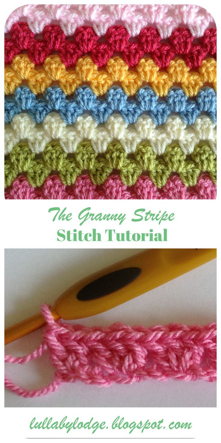 Learn how to crochet the quintessential stitch for blankets, the granny stripe. Step by step instructions with helpful photos. Suitable for a beginner...  grannystripe  grannystripepattern  grannystripes  crochettutorial