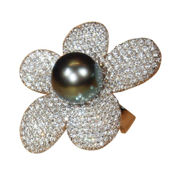 1stdibs - CARLO PALMIERO Tahitian Pearl and Diamond Ring in White Gold explore items from 1,700 global dealers at 1stdibs.com