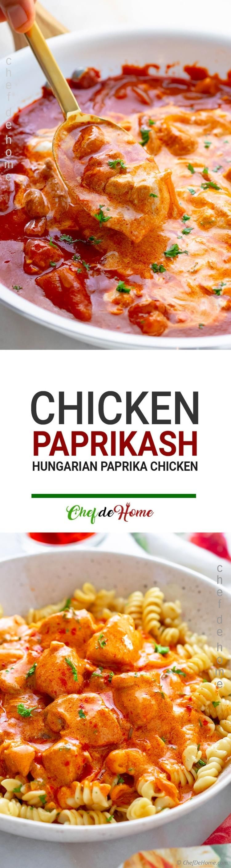 Chicken Paprikash A Hungarian Chicken Dish With Chicken Cooked In Creamy Onion Sour Cream And Paprika Sauce Chicken Paprikash Chicken Dishes Chicken Dinner
