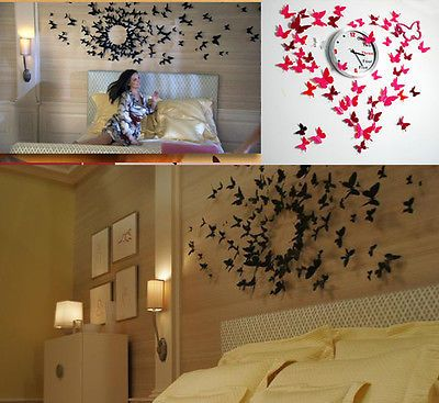 3D BUTTERFLY Wall Stickers Decors Art DIY Decorations 12/24/36 PCS 6 Colours