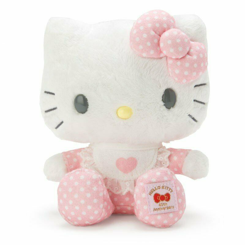 Sanrio Hello Kitty 45th Anniversary Memorial Plush Doll Pink quilt From Japan