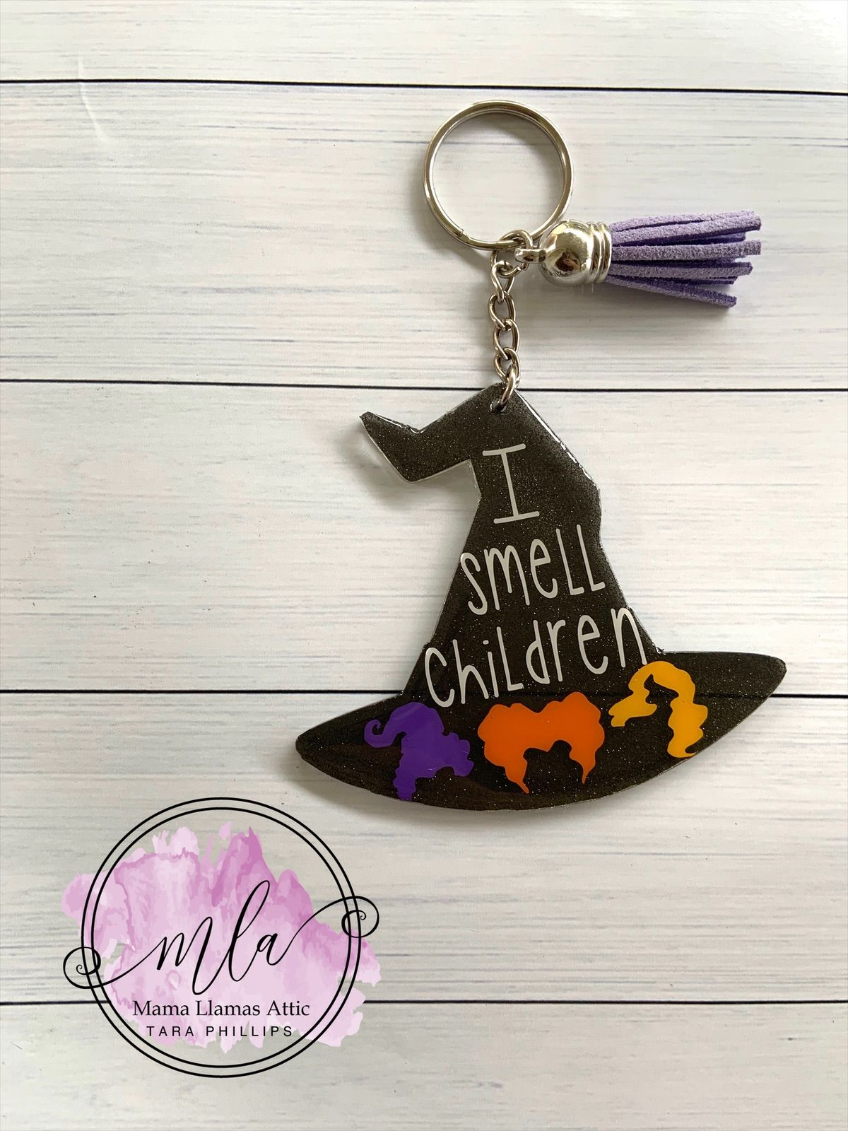 Witch hat halloween resin keychain with real dried and pressed rose petals