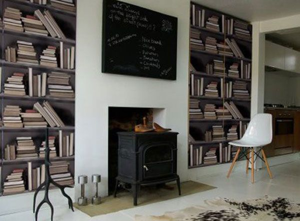 The Vintage Bookshelf Wallpaper Features Shelves Of Old Books To Create A Library Look It Can Be Used Feeling Study