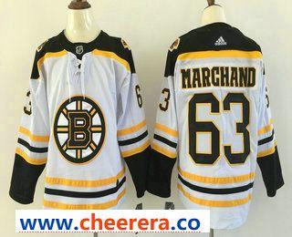 653a5db35 Men s Boston Bruins  63 Brad Marchand White 2017-2018 Hockey Stitched NHL  Jersey