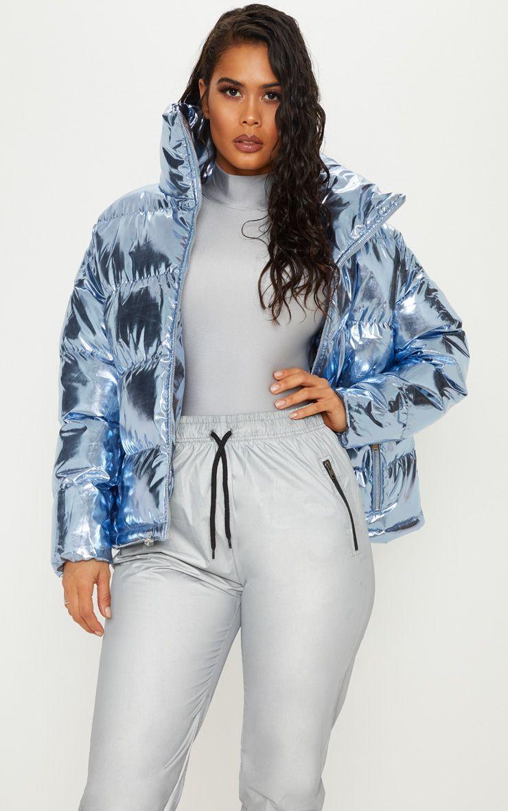 Blue Metallic Puffer Fashion Blue Puffer Jacket Shiny Jacket [ 1180 x 740 Pixel ]