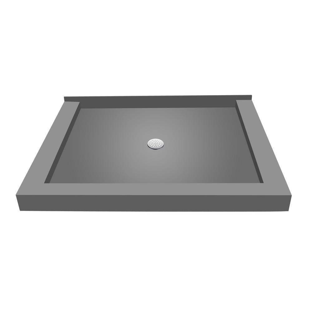 Tile Redi Redi Base 32 In X 36 In Triple Threshold Shower Base In Gray With Center Drain P3236ctc Pvc Shower Base Shower Pan Shower Pans Bases