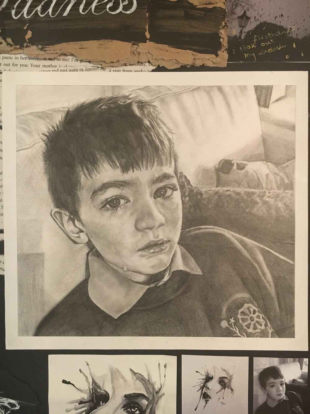 Gcse art topic on emotions sadness page this is a pencil drawing of my