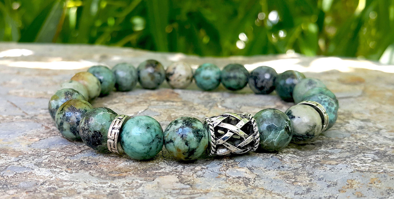 African Turquoise Bracelet Natural Gemstone Bracelet 10