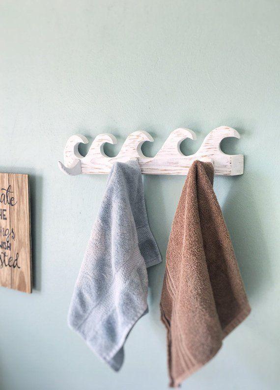 Wave Towel Rack Distressed White Wash Coat or Key Rack Beach Decor, Hand Carved, Surf Decor, Bathroom Rack, Wave Ocean Decor, Pool, Beach