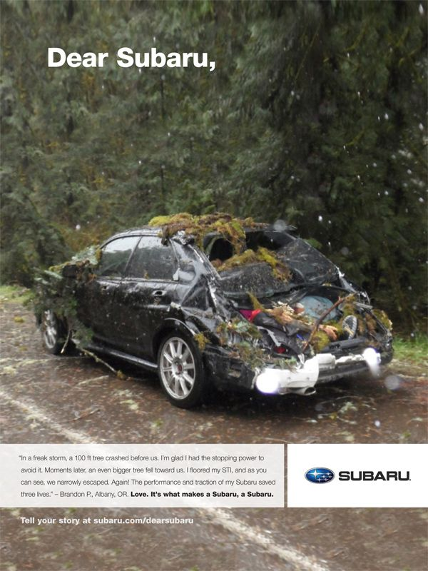 Subaru 2 Of Awareness In Another Campaign Print Ads