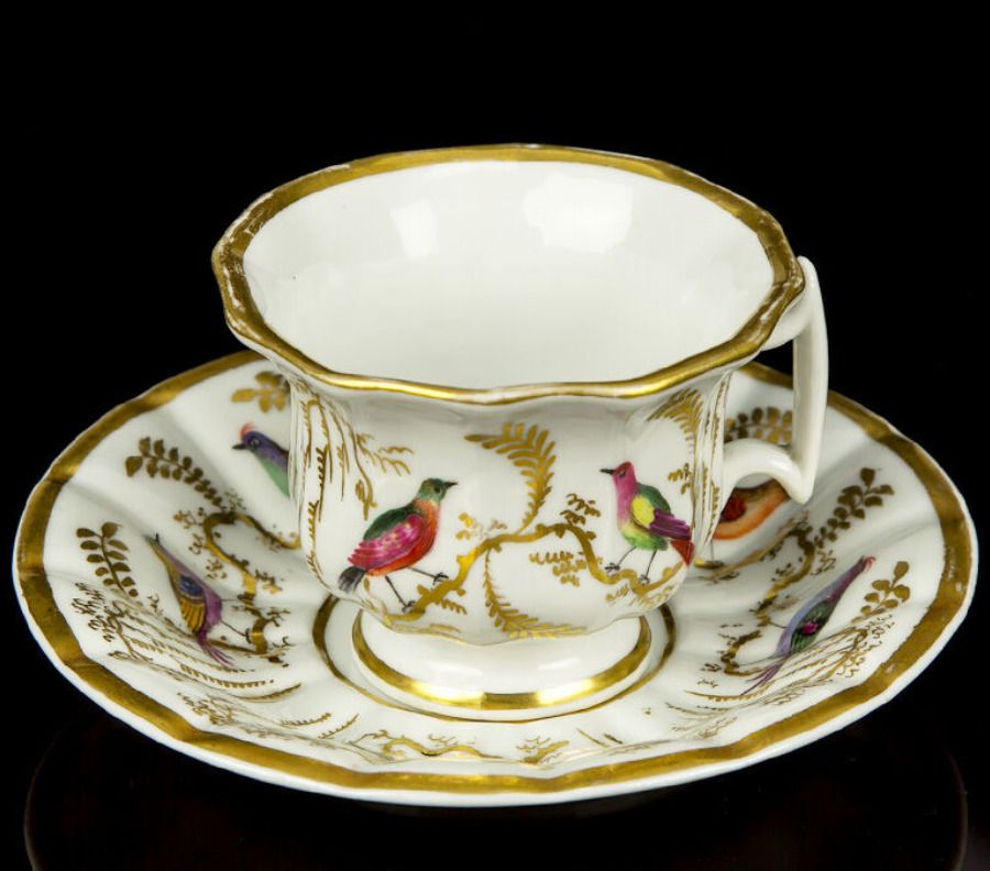 18th Century Vintage Doccia Porcelain Birds Of Paradise Cup And