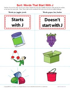 Words Starting With J | First Grade Small Groups | Words ...