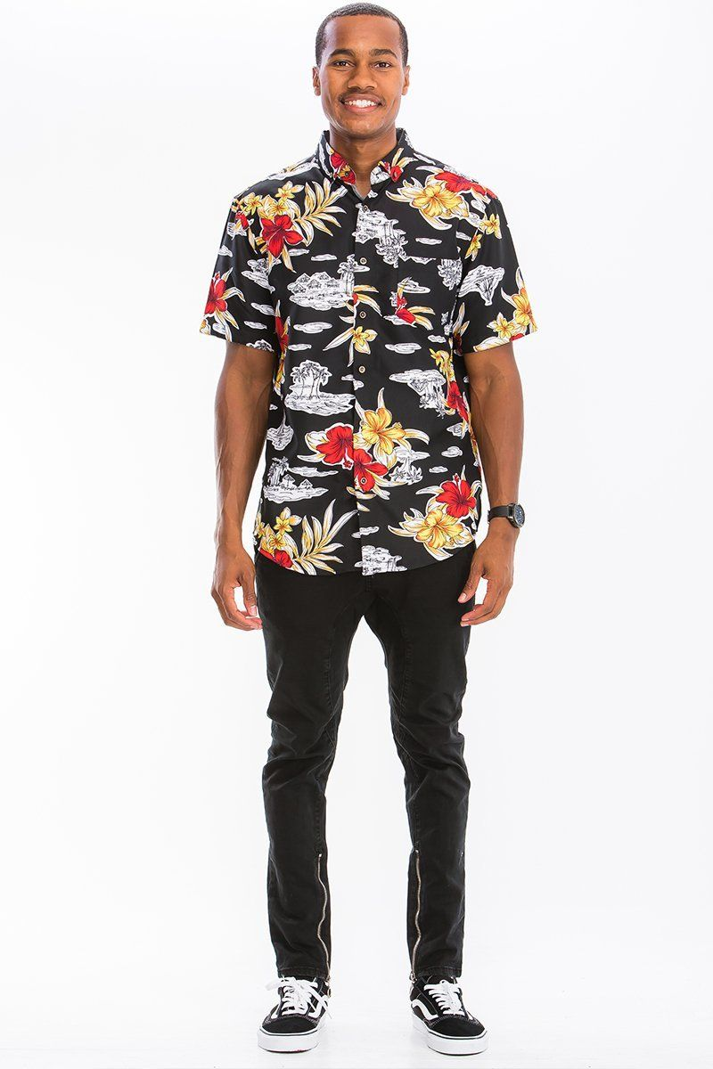 Mens Streetwear Blacked Out Island Hbds Casual Shirts Shirts Casual [ 1200 x 800 Pixel ]