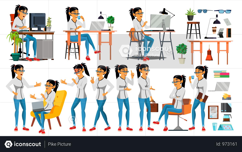 Premium Business Woman Character Illustration Download In Png Vector Format Illustrazione Personaggio