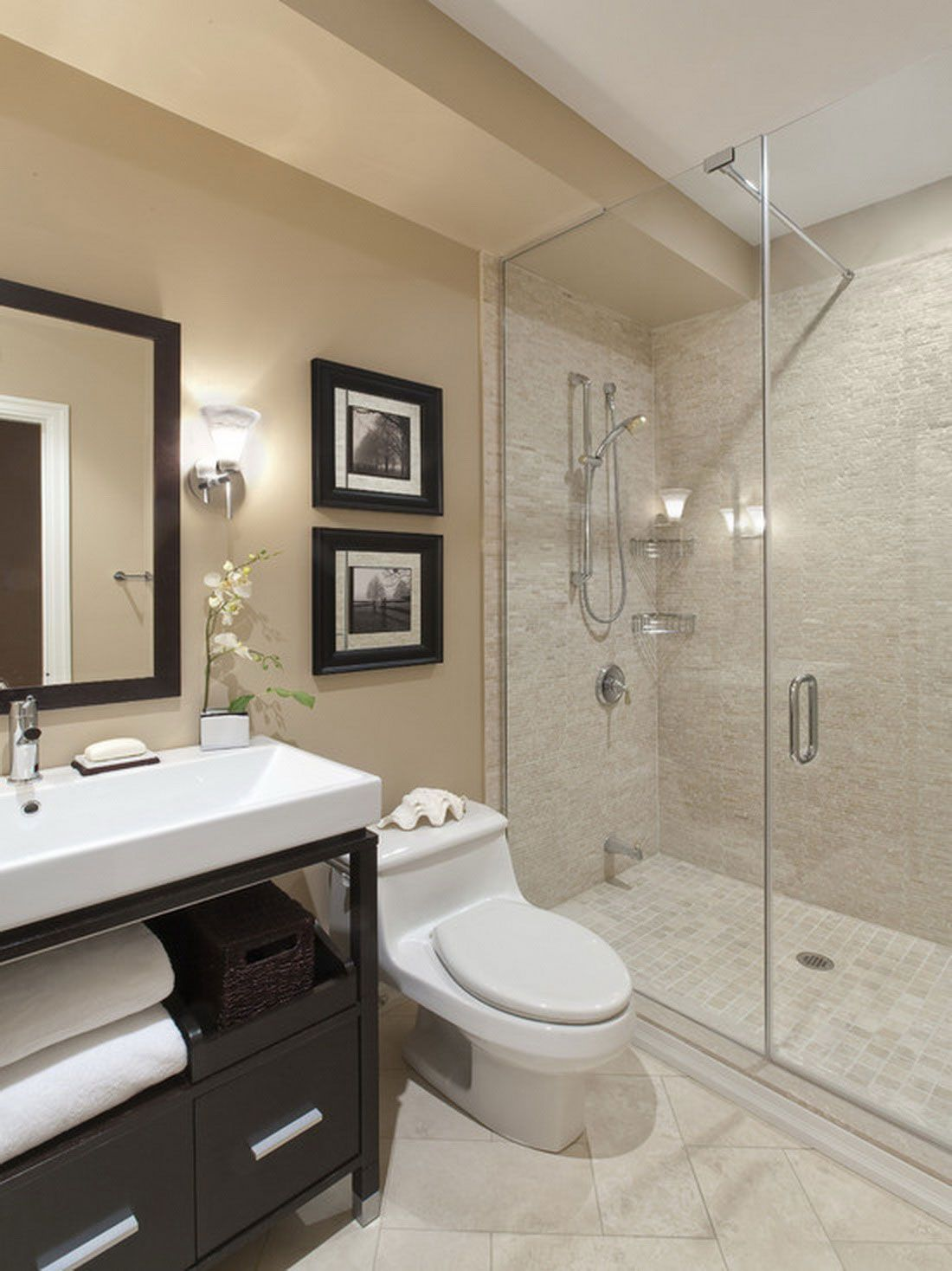 15 extraordinary transitional bathroom designs for any for Small bathroom design contemporary