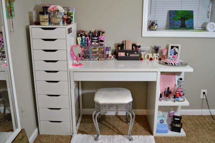 My Vanity And Makeup Storage Ikea Alex 9 And Micke Desk With