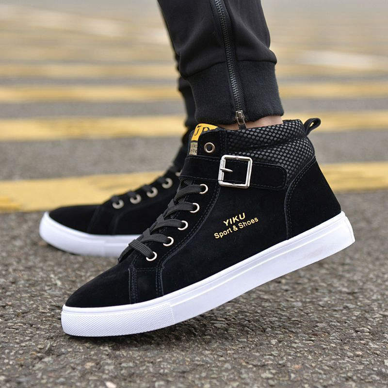 2017 Men Flock Casual Shoes Korean Fashion Style Winter Autumn Flats Shoes  Men Lace-Up High Top Shoes Male Street Buckle Boots