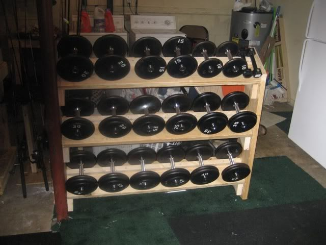 Dumbbell rack forums home gym for Homemade weight rack plans