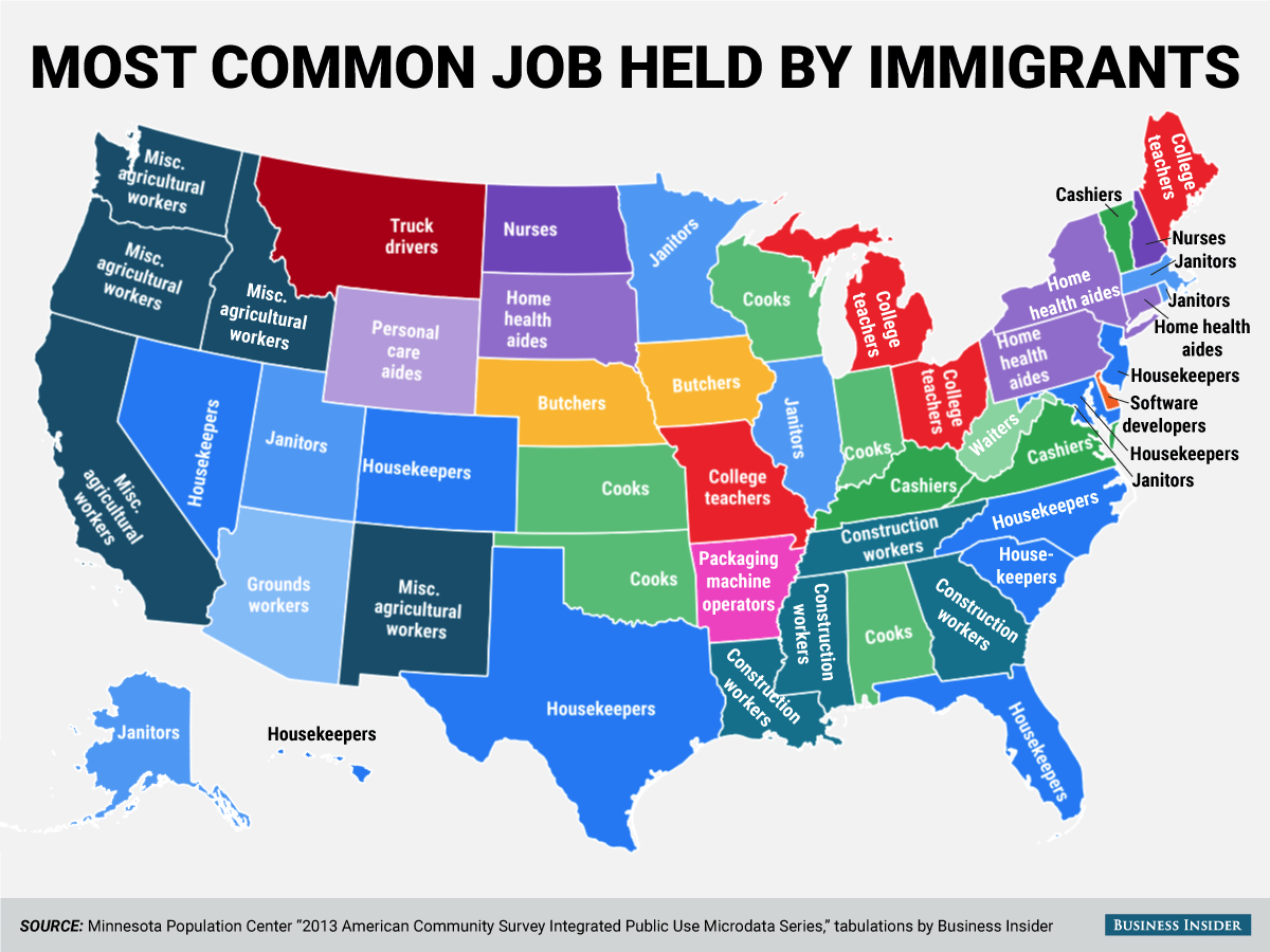 Most Common Job Held By Immigrants In Each State Corrected - Us map popular redrawn states