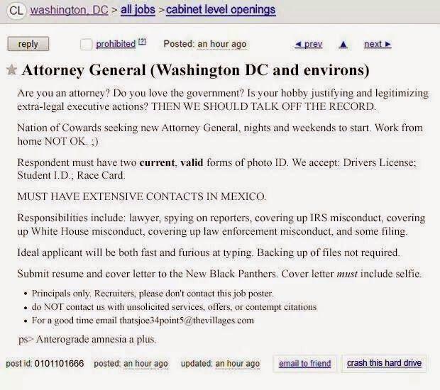Craigslist Ad United States Attorney General Job Listing