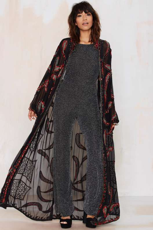 Vintage Gwyneth Beaded Floor Length Kimono Kimono