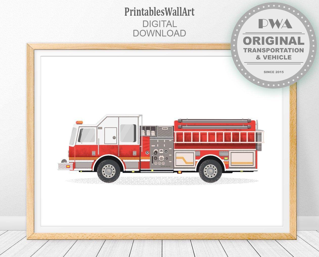 Fire Truck Print Firetruck Digital Download Fire Truck Boy Etsy Trucks Print Online Print Shop Fire Truck Wall Art