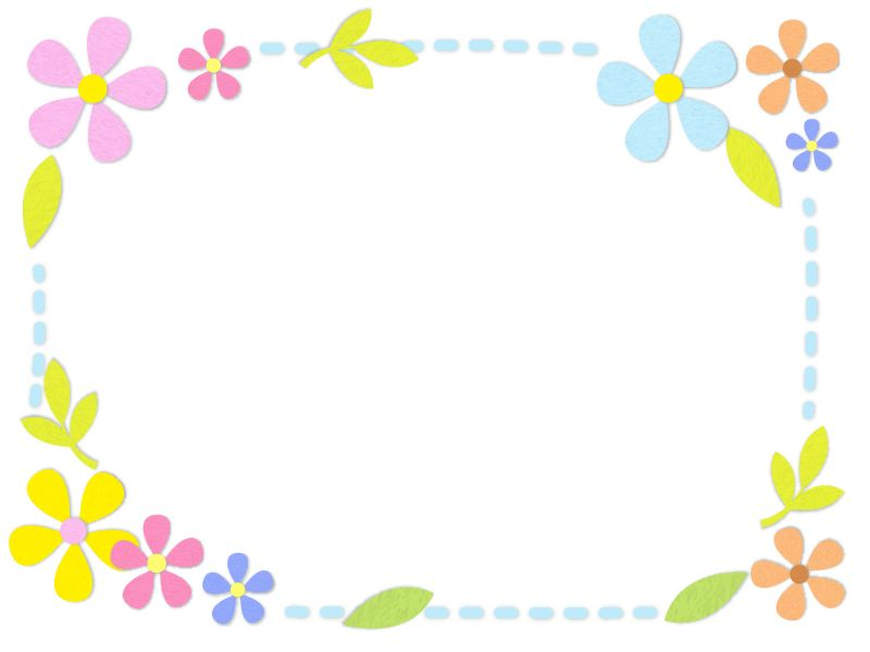 フェルトの花の水色点線フレーム飾り枠イラスト 無料イラスト かわいいフリー素材集 フレームぽけっと 飾り枠 無料 イラスト かわいい 花 イラスト