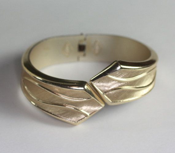 Vintage Hinged Cuff Bracelet Sarah Coventry Gold by PastSplendors, $12.00