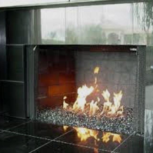 Crushed Glass Fireplace!