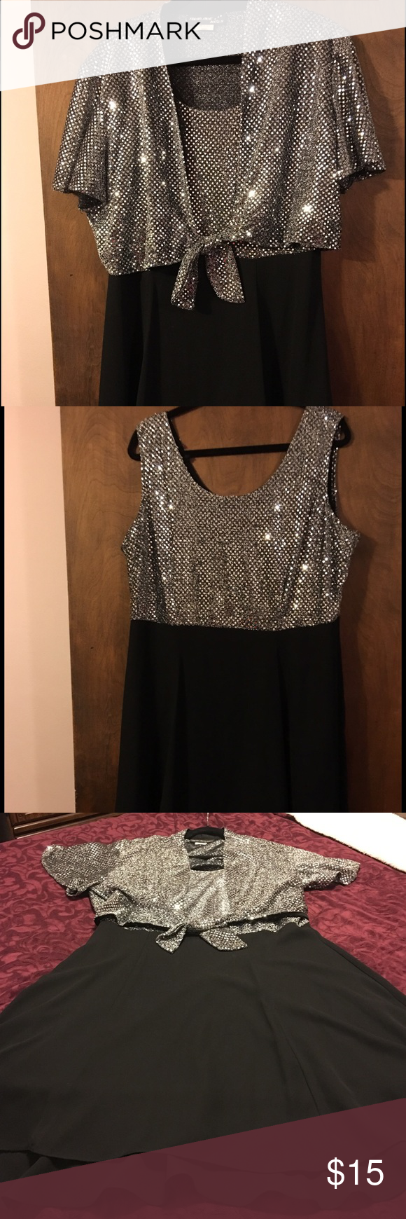 Black and sequined dress Beautiful shimmery party dress. Dress is sleeveless with a short sleeved sequined cover that ties at waist. Dress is size 18 with a layered hem. Falls around knee length on me, I am 5'9. sharade Nites Dresses Midi