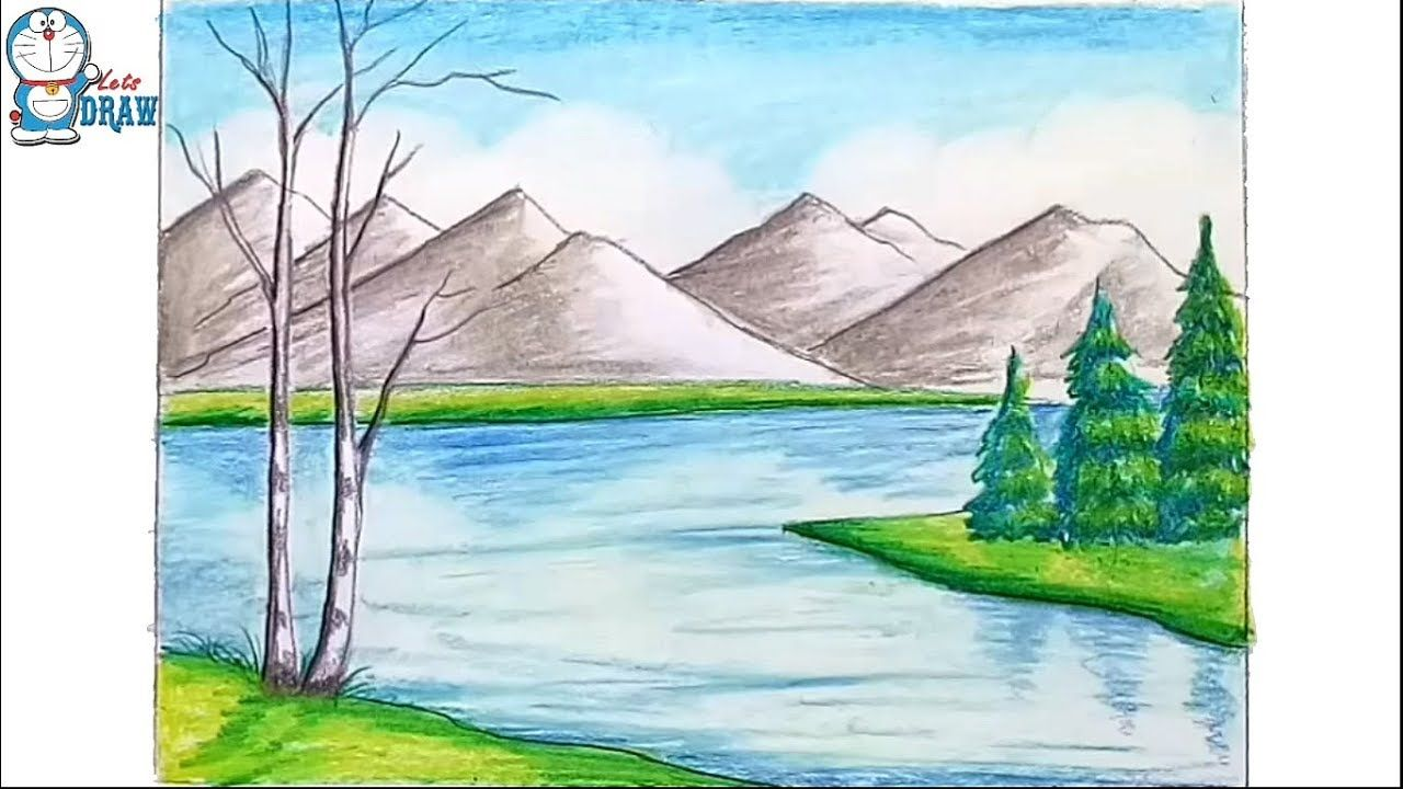 How To Draw Scenery Of Mountain Step By Step Youtube Landscape Illustration Mountain Drawing Drawings