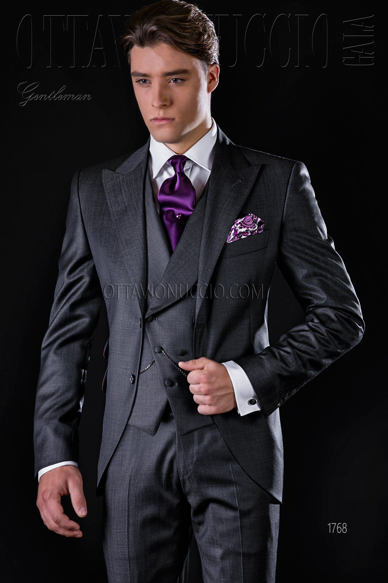 4e78609b7341ce Charcoal gray peak lapel Italian formal suit www.ScarlettAvery.com ...