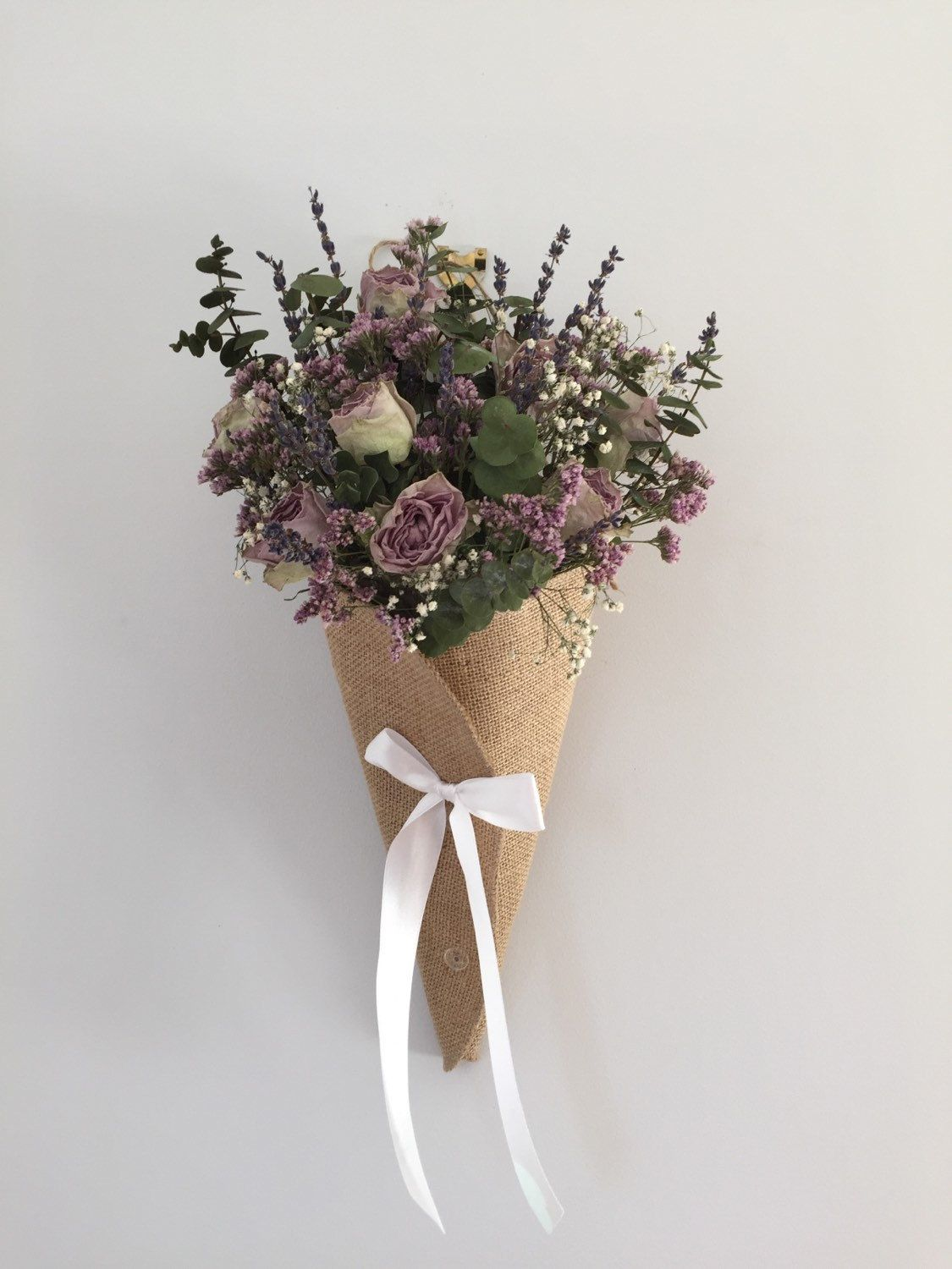 Dried Flower Arrangement Cone With Eucalyptus Roses Lavender And