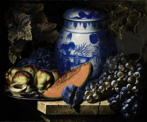 Pierre-Antoine Lemoine Still life with dish of peaches, grapes and chinese potiche on a stone ledge (150,000-200,000).