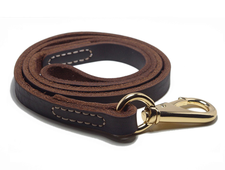 Yogadog Genuine Leather Dog Training Leash Brown Large Metal