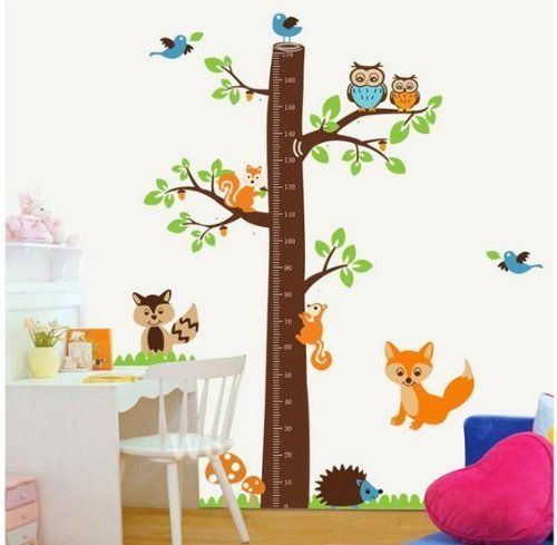 1 X Epie StoreTM Owl tree jungle animals growth chart nursery wall - wandtatoos für küche