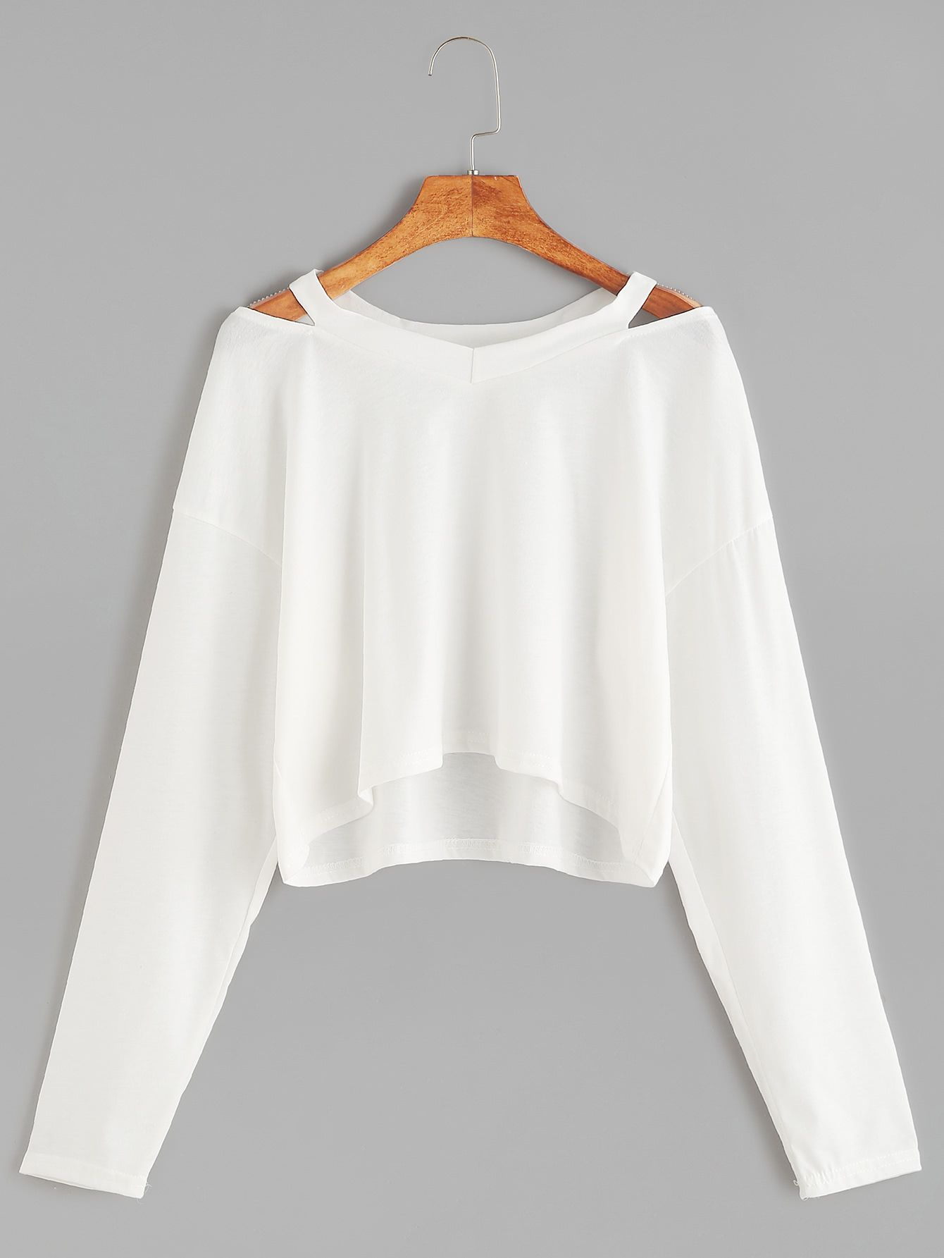 8f8a673c47 Shop White Cut Out Neck Crop T-shirt online. SheIn offers White Cut Out  Neck Crop T-shirt & more to fit your fashionable needs.
