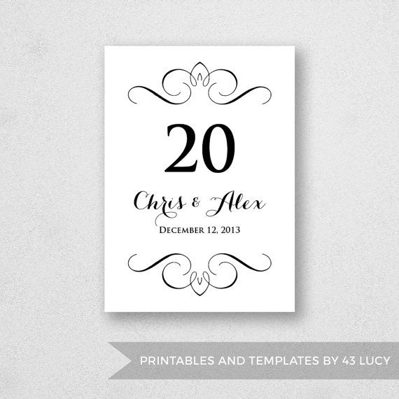 Table Number Template Printable - INSTANT DOWNLOAD - For Word and - fresh invitation template mac