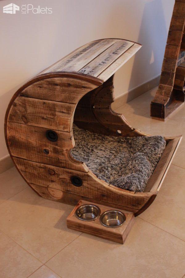 Photo of Haga esta cama para mascotas pallet moon para su casa de paletas de animales para gatos / perros …